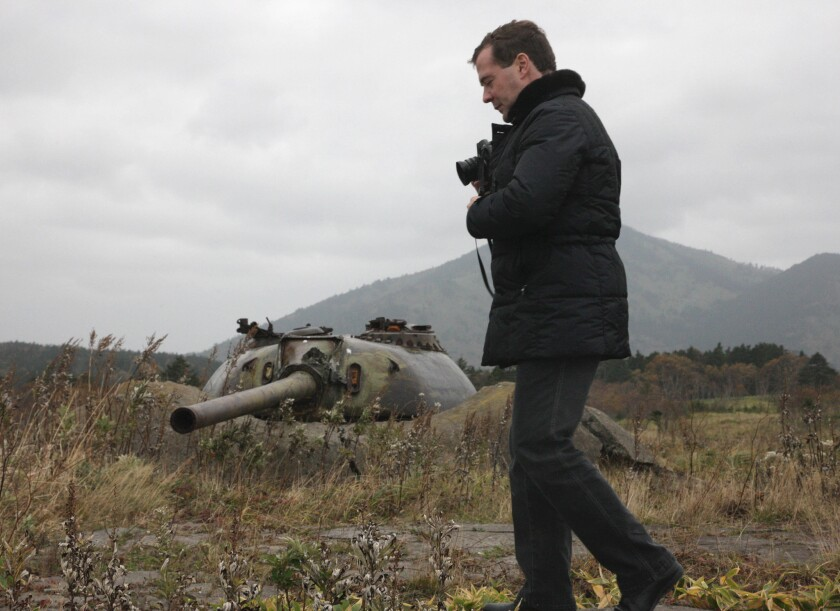 Then-Russian President Dmitry Medvedev's 2010 visit to islands seized from Japan at the end of World War II enflamed a dispute over the islands that Japan considers part of its Northern Territories and Russia says are part of its Kuril Islands chain.