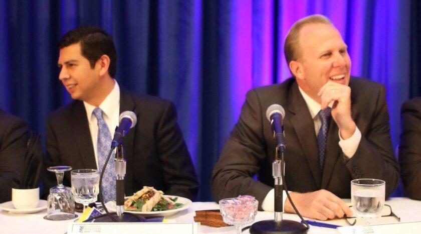 David Alvarez, left, and Kevin Faulconer, right. [U-T file]
