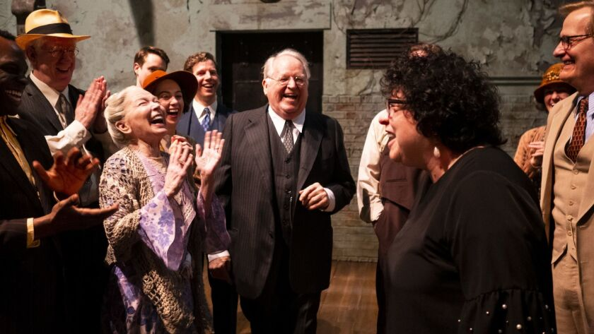 """Dakin Matthews, center, shares a laugh with the cast of """"To Kill A Mockingbird"""" when they're paid a visit by Supreme Court Justice Sonia Sotomayor at the Shubert Theatre."""