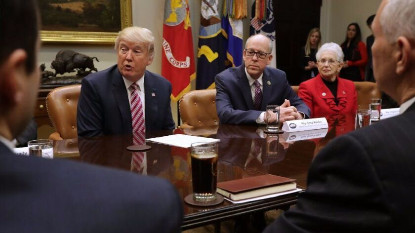 President Trump met with Republican House leaders in 2017 to discuss the party's legislation to repeal and replace the Affordable Care Act. It didn't pass, but Trump has damaged the law nevertheless.