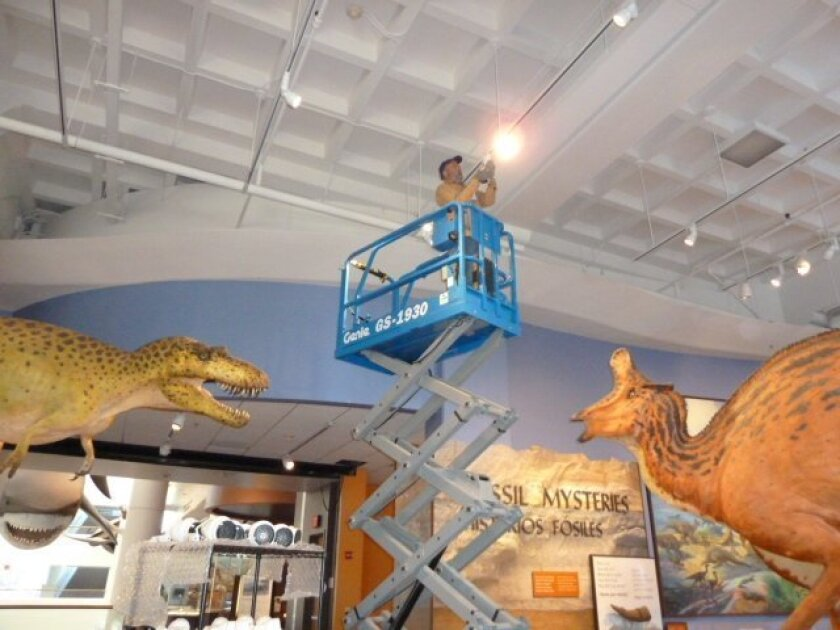 New energy-saving lighting at the Natural History Museum is one of many steps Balboa Park institutions are taking to become energy efficient and environmentally sustainable.