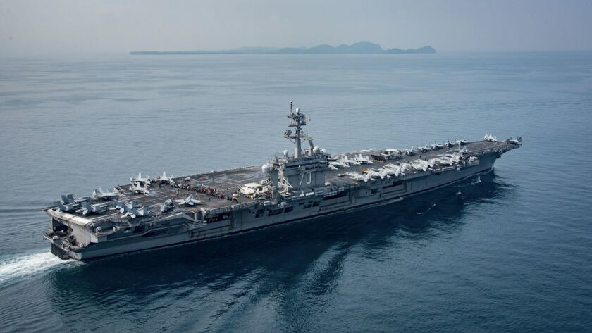SUNDA STRAIT, INDONESIA - APRIL 14: In this handout provided by the U.S. Navy, the aircraft carrier