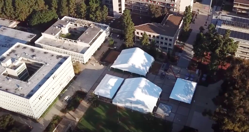 UC San Diego has built four large outdoor tents for classes and study.