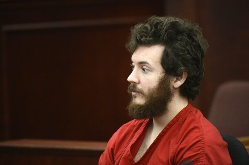 This file photo shows James Holmes, Aurora theater shooting suspect, in the courtroom during his arraignment in Centennial, Colo.