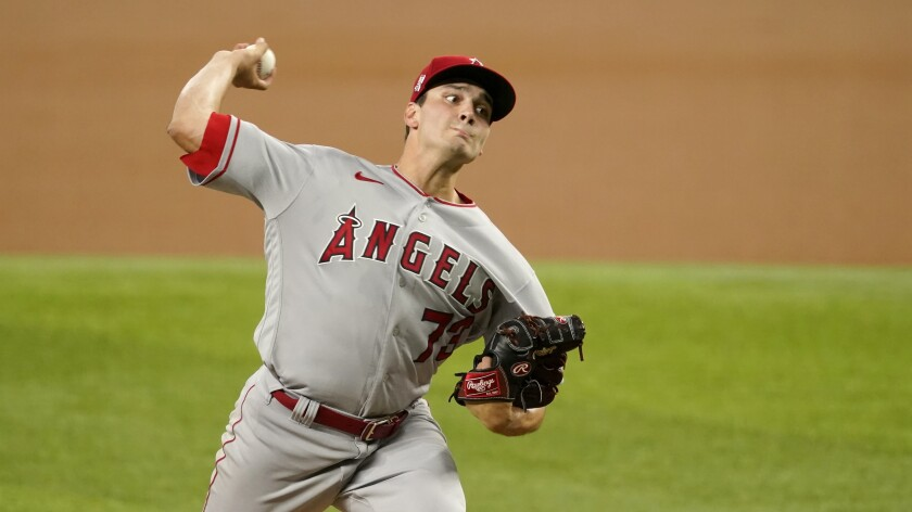 Angels starter Chris Rodriguez pitches