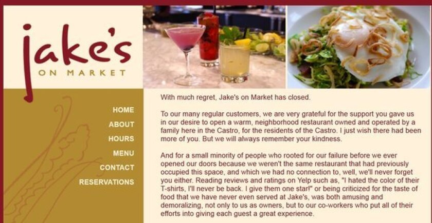 Jake's on Market fired a final shot at negative Yelp reviewers before closing.