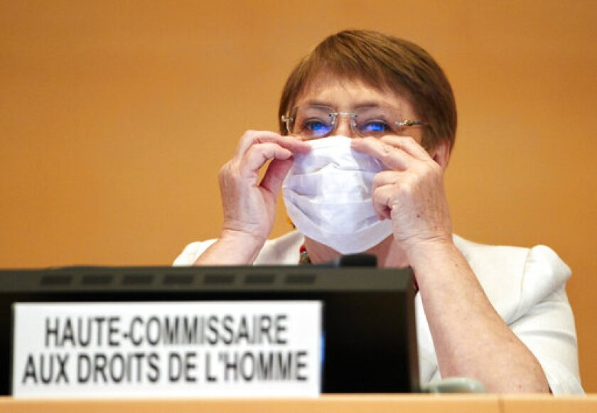 High Commissioner for Human Rights Michelle Bachelet attends the 44th session of the Human Rights Council at the European headquarters of the United Nations in Geneva, Switzerland, Tuesday, 30 June 2020. (Denis Balibouse/Keystone via AP)