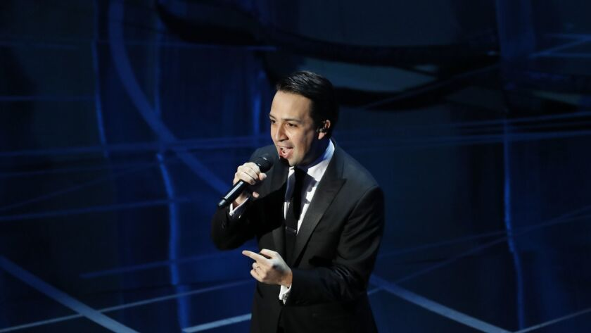 Lin-Manuel Miranda rapping during the telecast of the 89th Academy Awards.