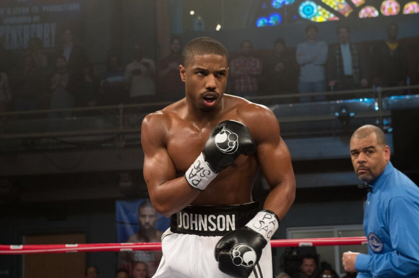 "This photo provided by Warner Bros. Pictures shows, Michael B. Jordan as Adonis Johnson in Metro-Goldwyn-Mayer Pictures', Warner Bros. Pictures' and New Line Cinema's drama ""Creed,"" a Warner Bros. Pictures release. (Barry Wetcher/Warner Bros. Pictures via AP)"