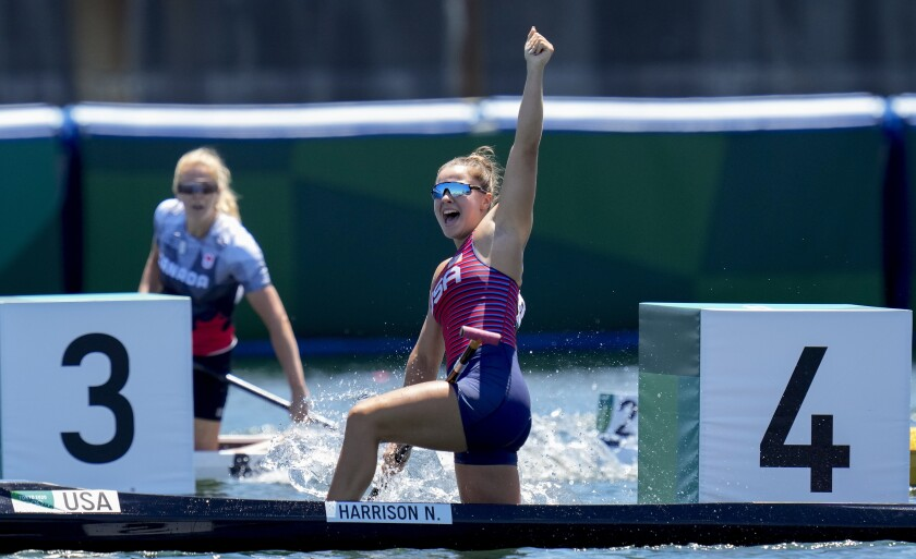 Incoming SDSU freshman Nevin Harrison reacts to winning the gold medal in flatwater canoe at the Tokyo Olympics.