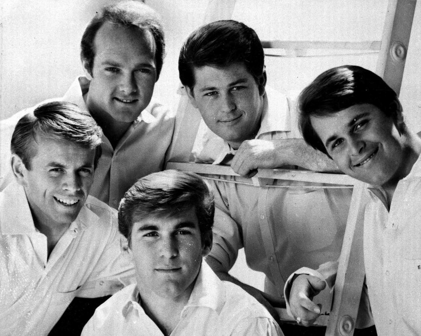 The Beach Boys in 1966. Shown, from left, are Al Jardine, Mike Love, Dennis Wilson, Brian Wilson and Carl Wilson.