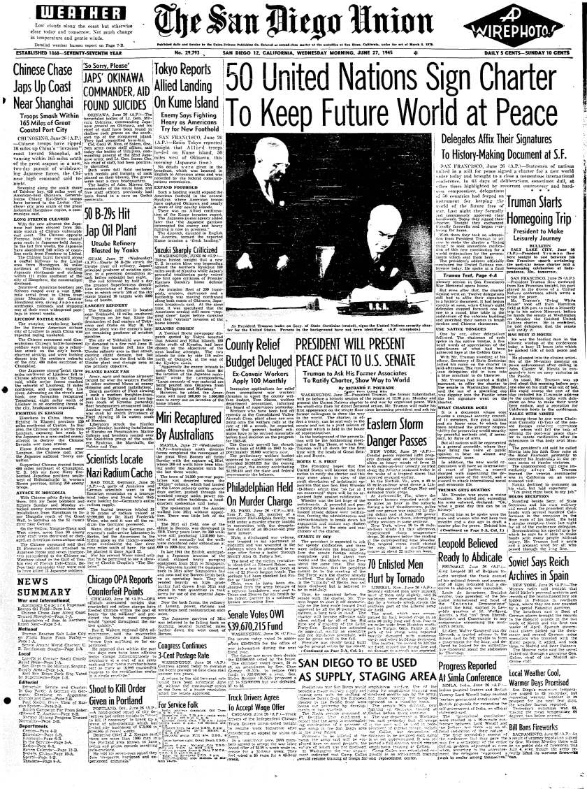 June 27, 1945 front page UN Charter signing