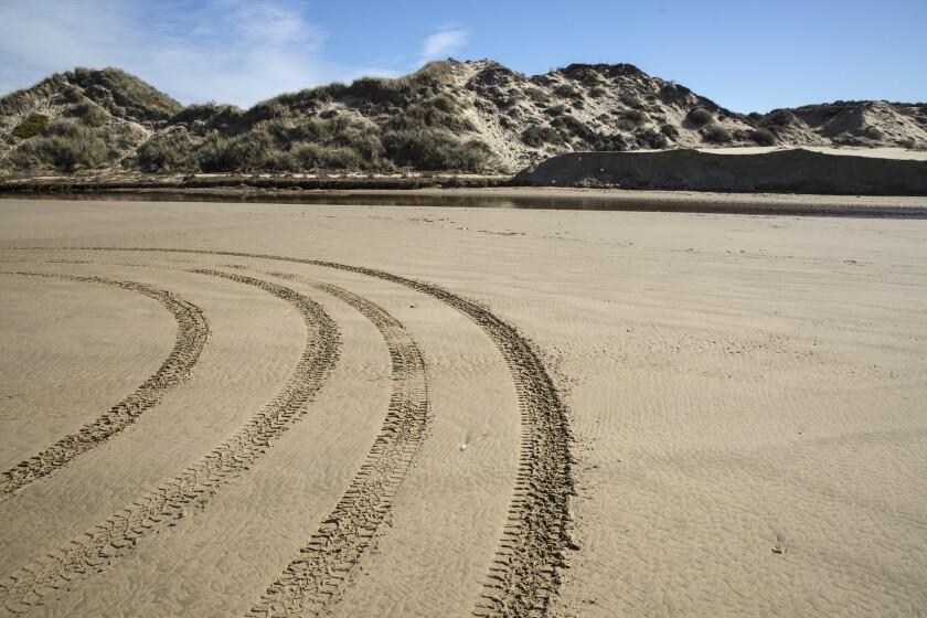 OCEANO, CALIF. -- THURSDAY, JANUARY 26, 2017: Tracks on the sand at Oceano Dunes State Vehicular Rec