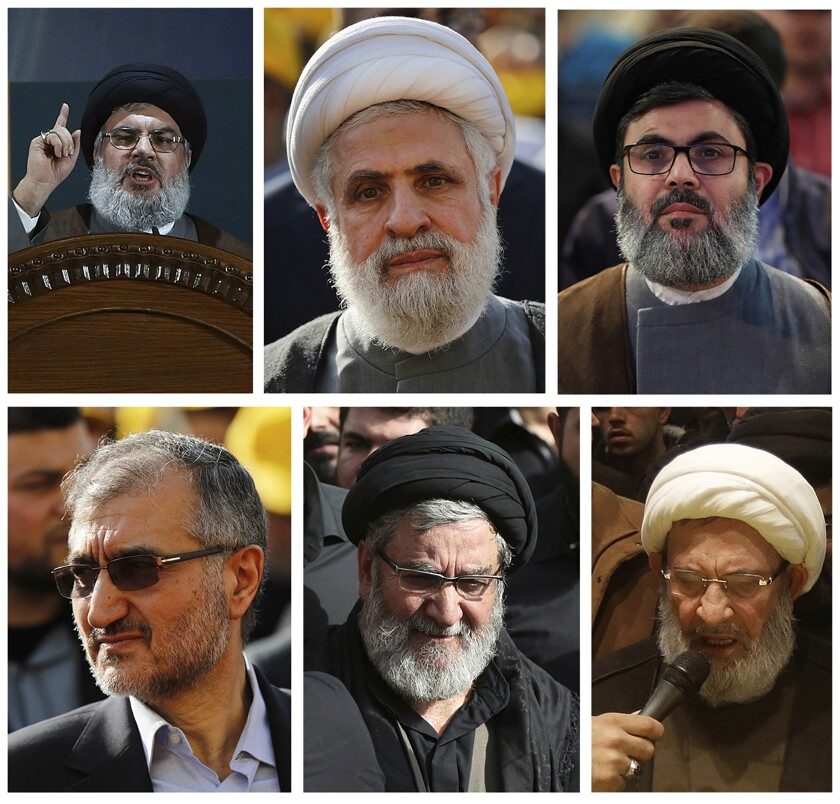 FILE - This combination of six portraits shows Hezbollah's senior leadership who the U.S. put under heavy sanctions in May 2018, from top left to right: Hezbollah leader Sayyed Hassan Nasrallah, Sheik Naim Kassem the deputy chief of Hezbollah, Sayyed Hashem Safieddine, head of Hezbollah's executive council, bottom left to right, Hussein Khalil the political aide of Hezbollah leader Hassan Nasrallah, Ibrahim Amin al-Sayyed, head of Hezbollah political bureau, Mohammed Yazbek head of Hezbollah's religious council. The Trump administration has been imposing sanctions on Hezbollah and institutions linked to it at an unprecedented rate in recent months, targeting lawmakers in Lebanon's parliament for the first time, as well as a local bank that Washington claims has ties to the group. (AP Photo/Hussein Malla, File)