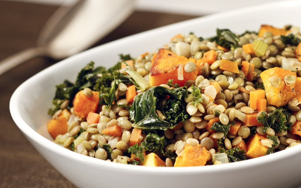 Lentils with kale and butternut squash