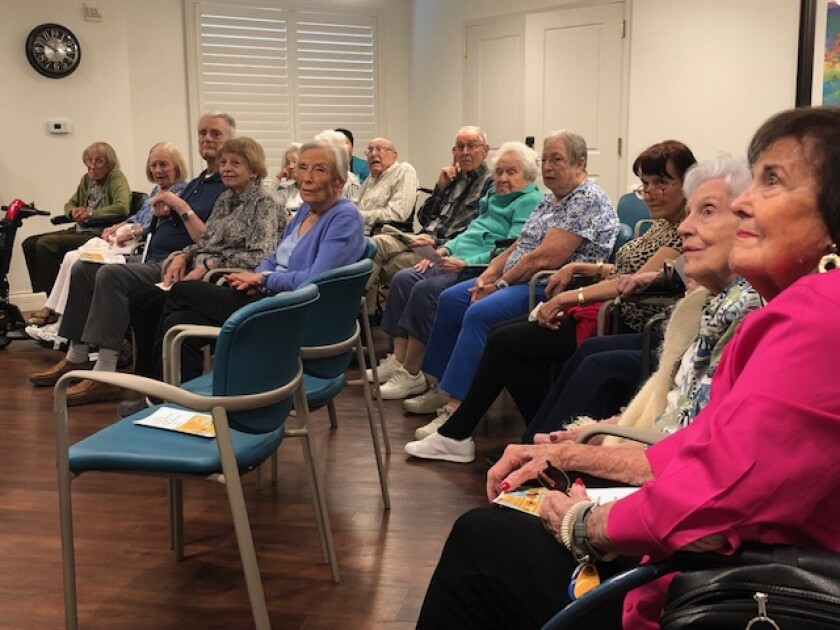 The audience listens to speakers Sept. 22, 2019 for a National Centenarian Day event held at the senior living community, Vi at La Jolla Village.