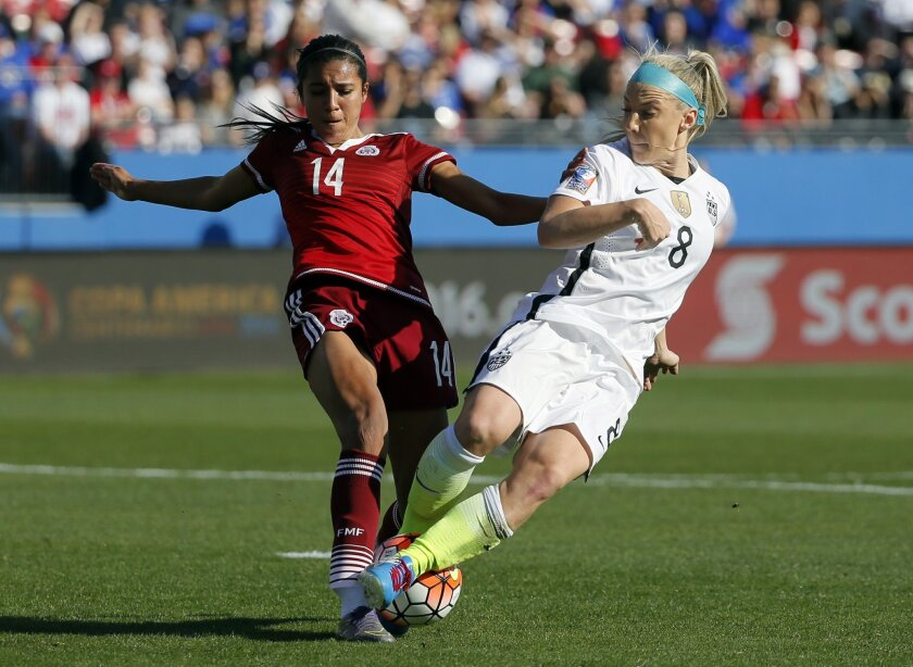 Mexico's Annia Mejia (14) defends against pressure at the net by United States' Julie Johnston (8) in the first half of a CONCACAF Olympic qualifying tournament soccer match, Saturday, Feb. 13, 2016, in Frisco, Texas. The U.S. won 1-0. (AP Photo/Tony Gutierrez)