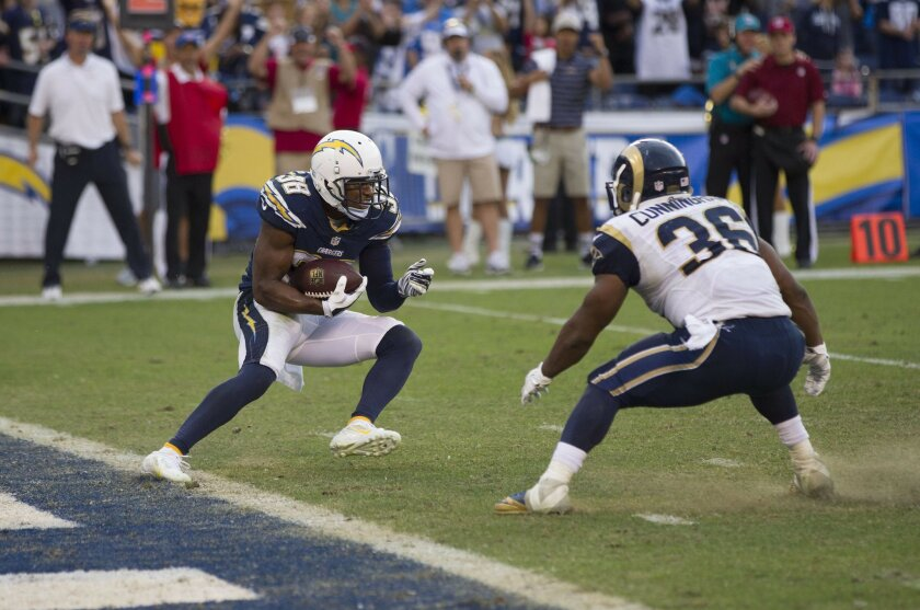 The San Diego Chargers vs. The St. Louis Rams at Qualcomm Stadium. San Diego Chargers strong safety Marcus Gilchrist (38) intercepts with time running out to deny the Rams a comeback as the Chargers seal the win 27-24.