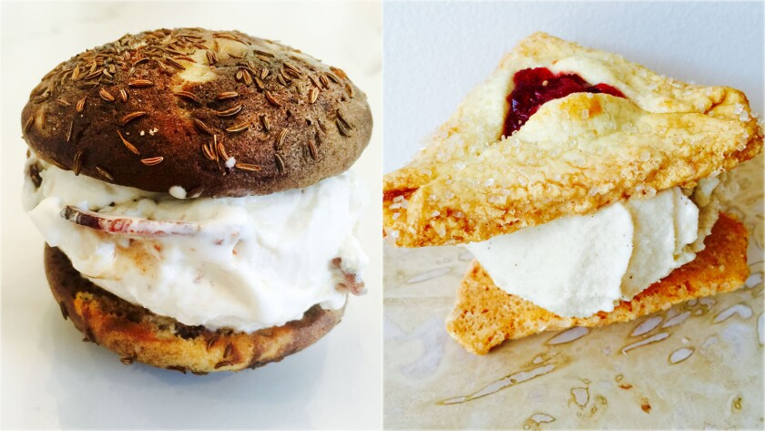 Coolhaus is making a pastrami ice cream sandwich and a potato latke ice cream sandwich. Pictured, from left, is the Reuben sandwich with pastrami ice cream on a marbled rye cookie, and the potato latke sandwich with potato latke applesauce ice cream on a hamantaschen cookie.