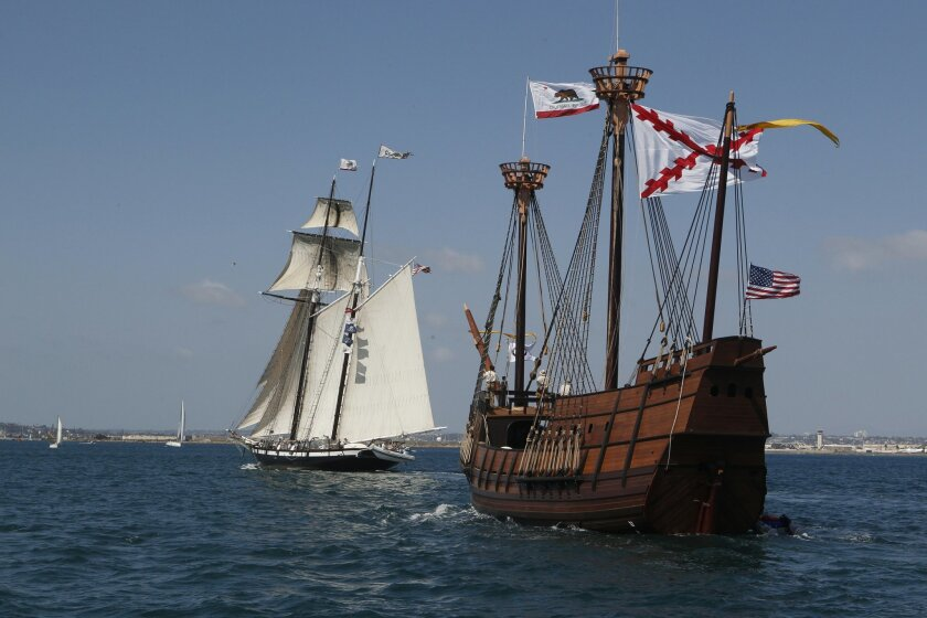 """Two ships from the Maritime Museum of San Diego that were both built on Spanish Landing, the 145' topsail Schooner """"Californian,"""" left, and San Salvador, right sailing together in San Diego Bay."""