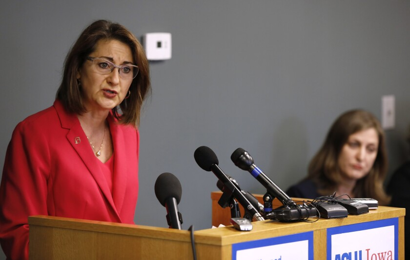 Planned Parenthood of the Heartland President and CEO Suzanna de Baca speaks at a news conference on May 15, 2018, in Des Moines, Iowa. Planned Parenthood and the American Civil Liberties Union said Tuesday that they had filed a lawsuit challenging the nation's most restrictive abortion law, an Iowa provision that bans most abortions once a fetal heartbeat is detected.