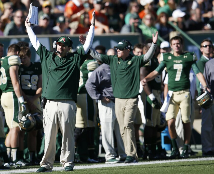 Colorado State head coach Mike Bobo argues with referees for a touchdown for his team against San Diego State in the first half of an NCAA college football game, Saturday, Oct. 31, 2015, in Fort Collins, Colo. San Diego State recovered the fumble as officials ruled against Bobo and Colorado State.