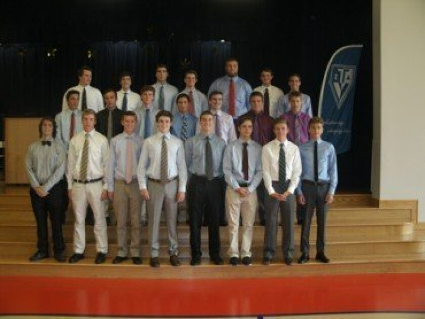 (Above) The 28 young men recently honored for their years of community service with the founding chapter of Teen Volunteers in Action. (No order) Jacob Alsadek, Andrew Appleby, Dawson Bailey, Hunter Barrera, Tim Benirschke, Spencer Brewster, Chance Canedy, Christopher Carter, Aidan Clifford, Jack Condon, Aaron Ellis, Noah Gaarder-Feingold, Dillon Lerach, Sean McGrath, Zach McGrath, Quinton Mells, Mitchell Millar, Ian Moffit, George Nelson, Chase Pickwell, Connor Polk, Casey Reed, Connor Sears, Kade Shoemaker, Will Strauss, Stephen Tifft, Cole Tudor and Chris Watson. Photo/Marsha Sutton