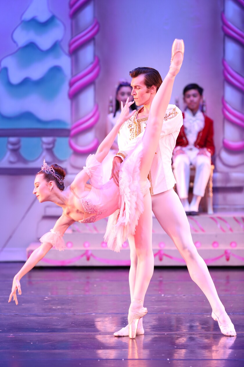 "Renée Spaltenstein and Daniel Wagner in Westside Ballet's 2018 production of ""The Nutcracker."""