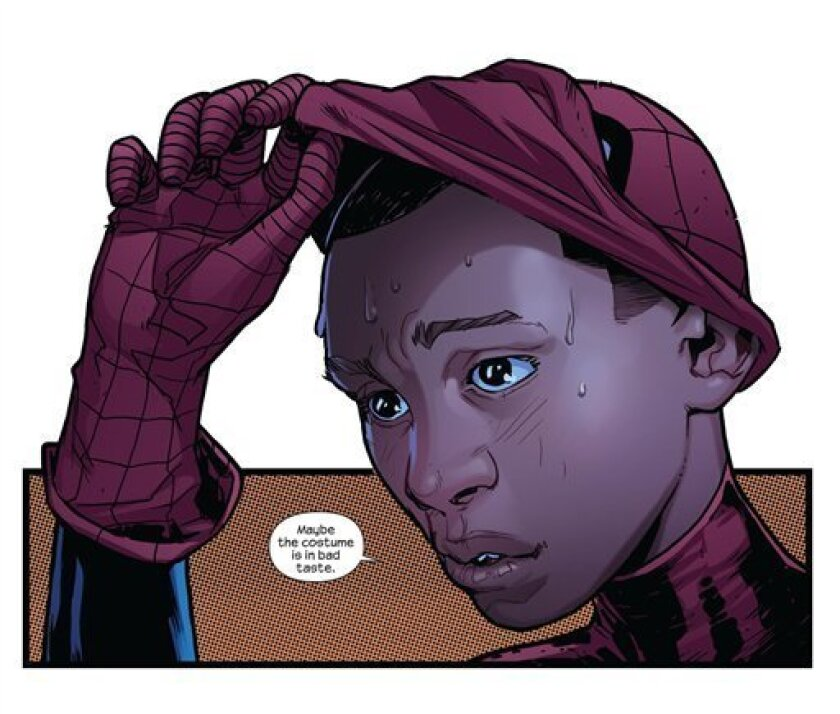 """In this comic book image released by Marvel Comics, a page from """"Ultimate Fallout,"""" is shown. In the wake of the death of Peter Parker, Ultimate Spider-Man is still slinging webs across Manhattan. In the fourth, and final, issue of """"Ultimate Fallout"""" released on Wednesday, Aug. 3, 2011, the mantle"""