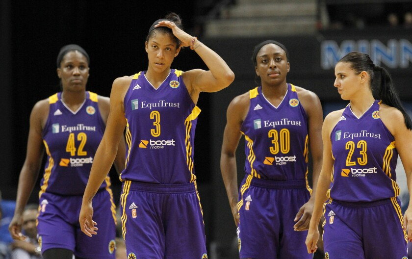 Sparks forward Candace Parker (3) and teammates Jantel Lavender (42), Nneka Ogwumike (30) and Ana Dabovic (23) head up the court during the final minute of Game 1 of the WNBA Western Conference semifinals against the Minnesota Lynx on Friday.