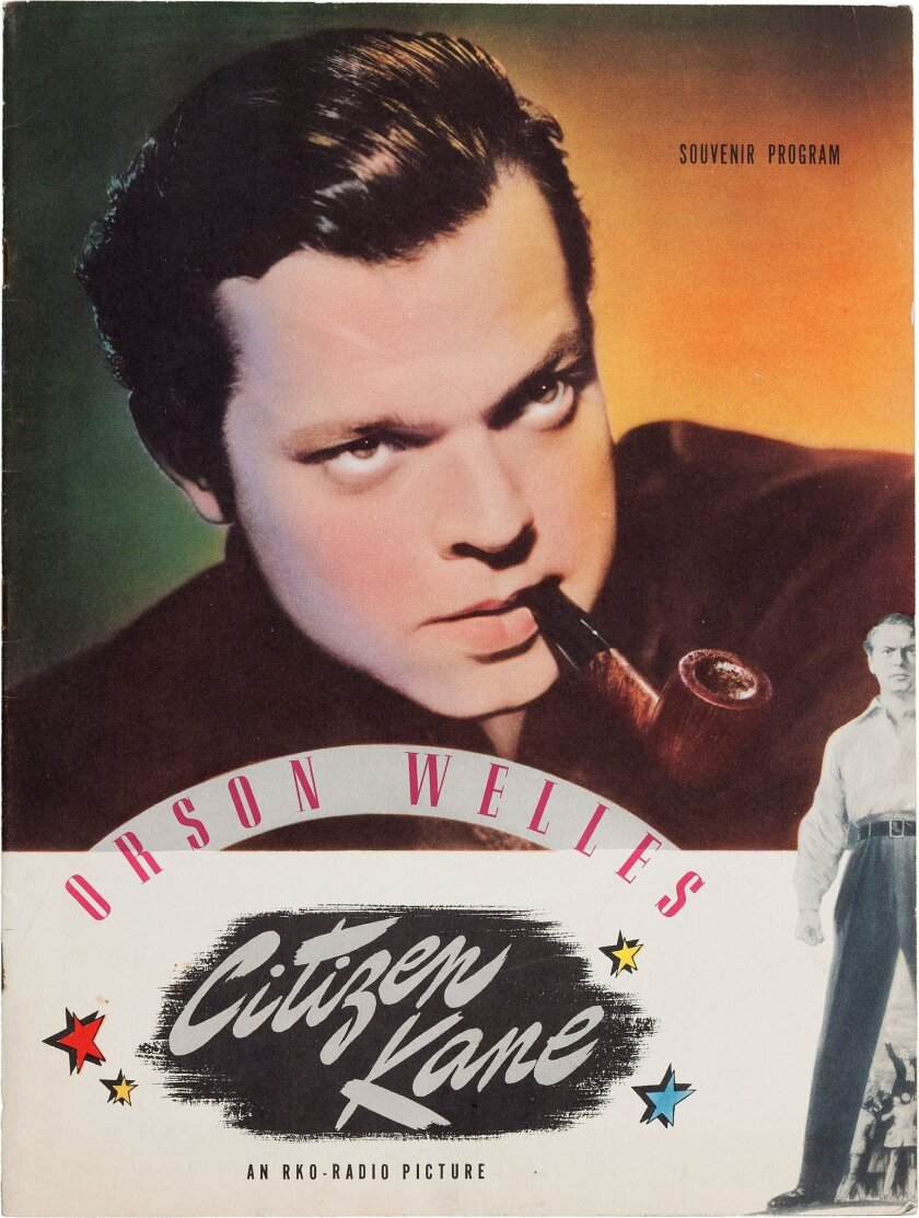 """FILE - This undated file photo provided by Heritage Auctions shows Orson Welles' personal copy of a souvenir program from his classic 1941 film, """"Citizen Kane,"""" which was among the legendary actor, director and scriptwriter's items consigned by his daughter, Beatrice Welles for sale by Heritage Auctions in New York City on Saturday, April 26, 2014. The collection fetched $180,000. (AP Photo/Heritage Auctions, File)"""