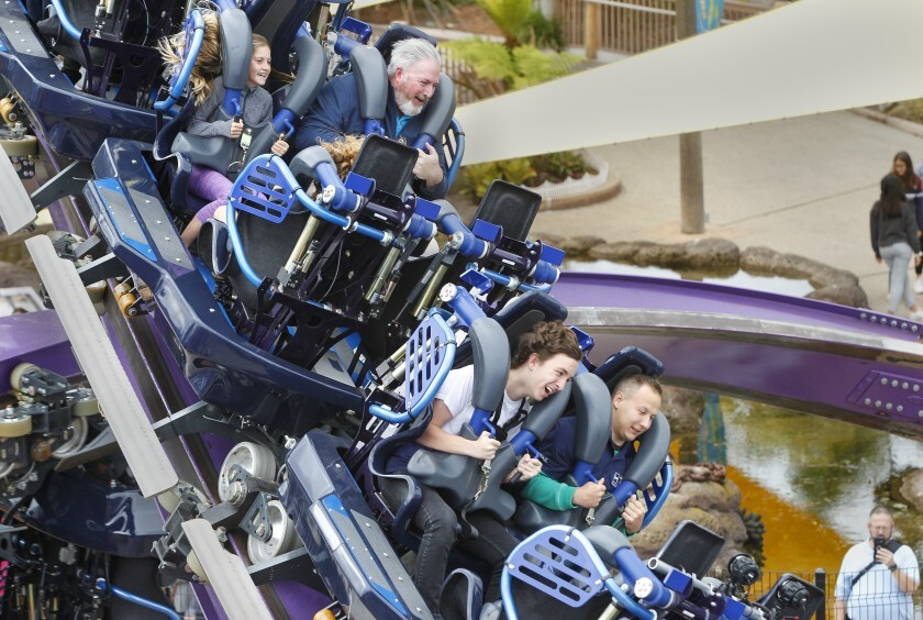"Tidal Twister roller coaster at Sea World in May on a ""media day"" before the ride opened to the public."