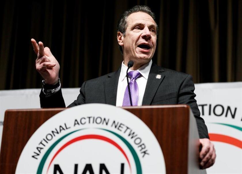 El gobernador de Nueva Yor, Andrew Cuomo, interviene en la Convención de la National Action Network (NAN) celebrada en Nueva York (Estados Unidos), el 18 de abril de 2018. EFE/Archivo