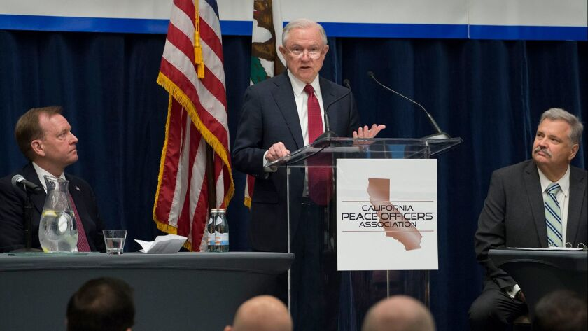 U.S. Atty. Gen. Jeff Sessions speaks during the 26th Annual Law Enforcement Legislative Day hosted by the California Peace Officers' Assn. in Sacramento on March 7.