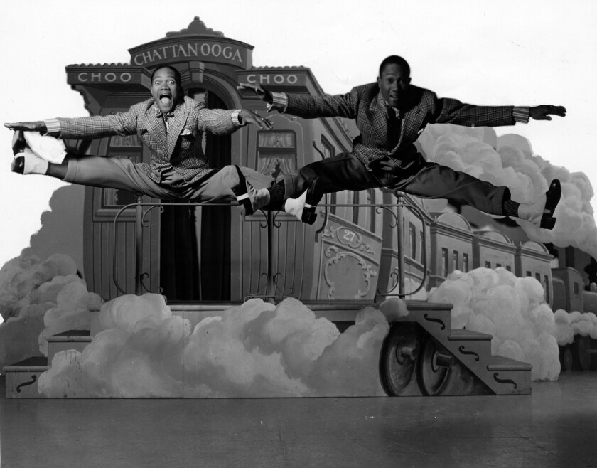 "The Nicholas Brothers in a scene from ""Sun Valley Serenade"" (1941). Harold Nicholas, left, and Fayard Nicholas."