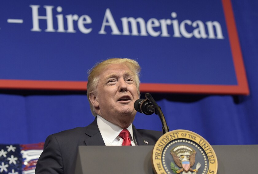 President Trump speaks at tool manufacturer Snap-on Inc. in Kenosha, Wis., on Tuesday.
