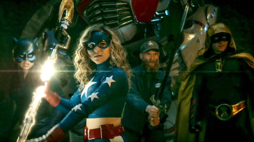 "Yvette Monreal, left, Brec Bassinger, Mark Ashworth and Cameron Gellman in ""D.C.'s Stargirl"" on the CW."