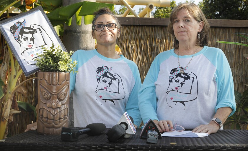 SAN DIEGO, CA 10/23/2018: Victims of Alvin Quarles, classified by the state as a sexually violent predator, Cynthia Medina, left, and Mary Taylor, right, have been vocal about opposing Quarles' release and a judge's actions to close to the public some hearings related to Quarles' case.