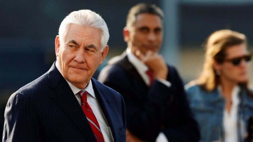 U.S. Secretary of State Rex Tillerson arrives in Mexico City, Mexico February 22, 2017.