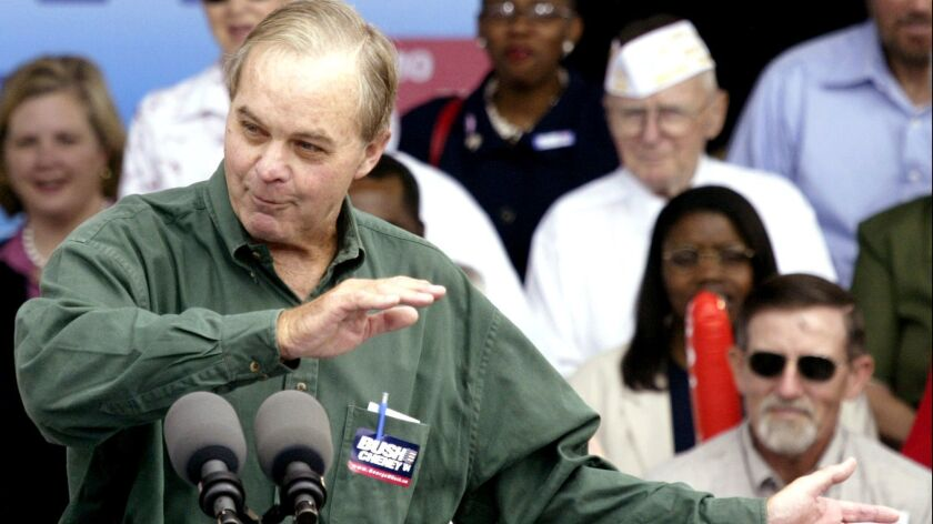 "William H.T. ""Bucky"" Bush, the uncle of President George W. Bush and brother of President George H.W. Bush, at the podium during a 2004 rally in Warrenton, Mo."