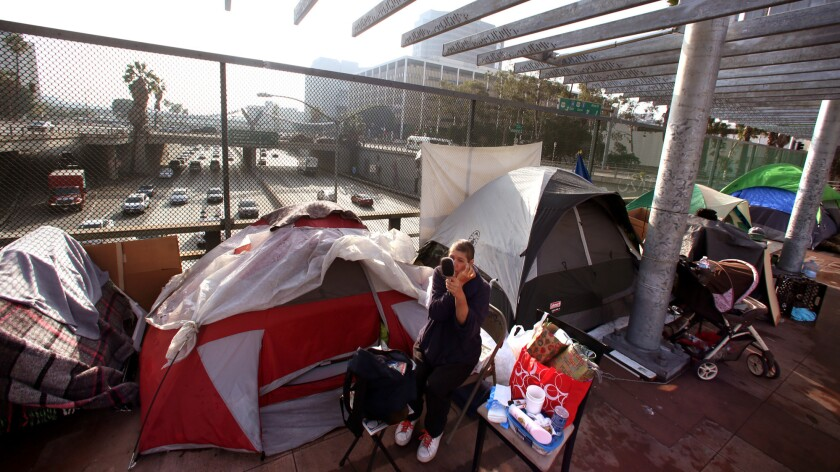 A woman makes her home in a tent above the 101 Freeway in downtown Los Angeles in 2015.