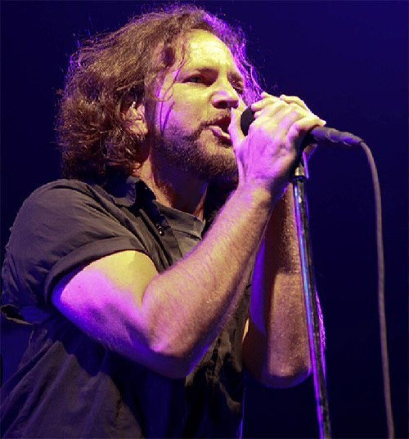 Lead singer Eddie Vedder at Friday's Pearl Jam concert at SDSU's Viejas Arena.