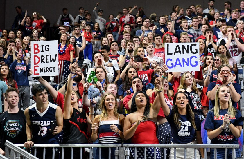Gonzaga fans cheer as the  Bulldogs take on the Saint Mary's Gaels in the West Coast Conference championship game March 10 at Orleans Arena in Las Vegas.