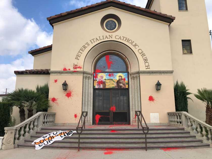 St. Peter's Italian Catholic Church on the edge of Chinatown in L.A. was vandalized Monday morning.