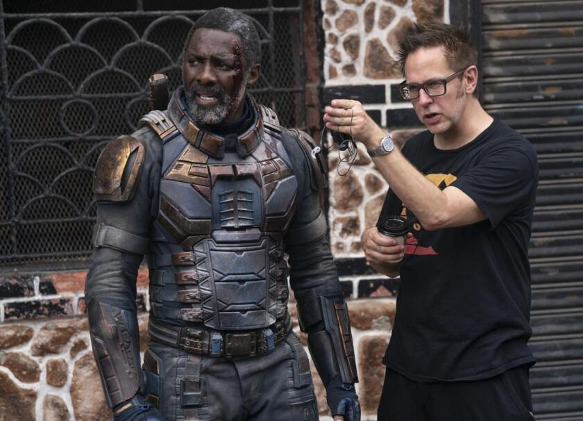 """Idris Elba and James Gunn on the set of """"The Suicide Squad."""""""
