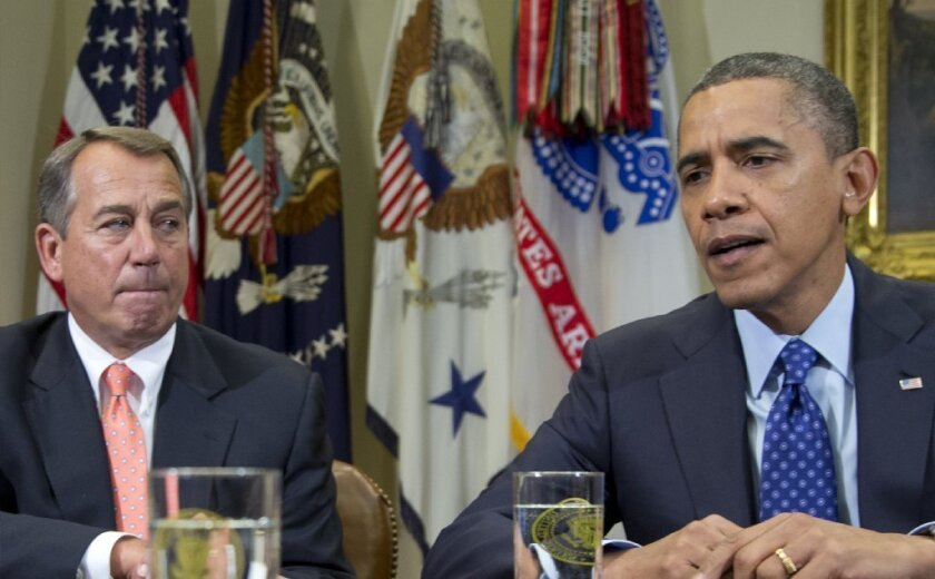 """President Obama and House Speaker John Boehner speak to reporters in November after meeting to negotiate a deficit reduction package that would avert the """"fiscal cliff."""""""