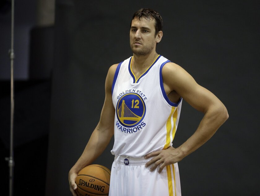 Golden State Warriors' Andrew Bogut is photographed during NBA basketball media day, Monday, Sept. 29, 2014, in Oakland, Calif. (AP Photo/Ben Margot)