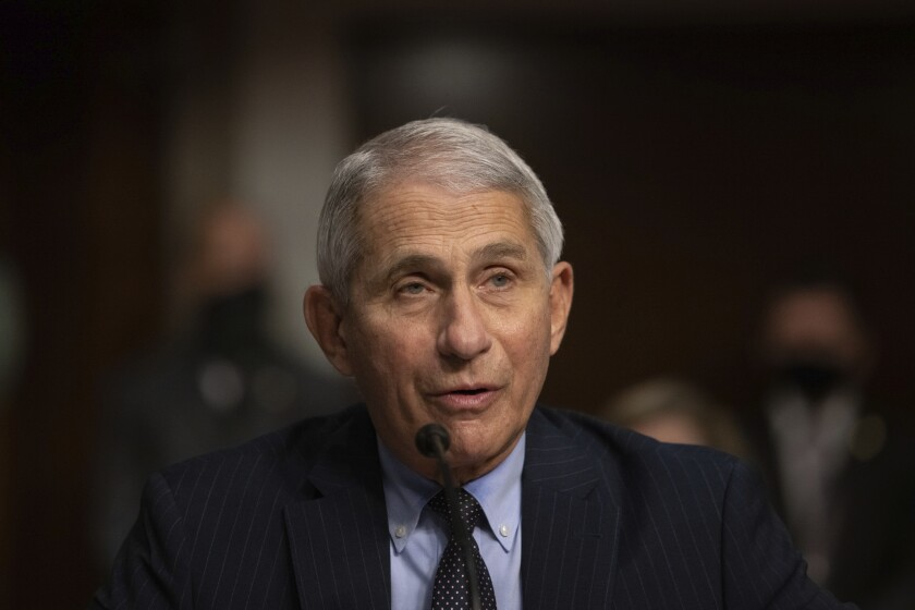 Dr. Anthony Fauci listens during a Senate Senate Health, Education, Labor, and Pensions Committee Hearing.