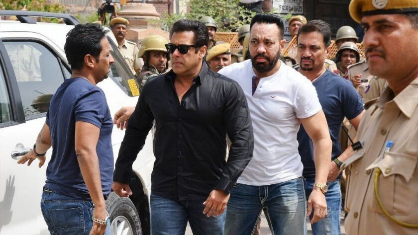 Bollywood star Salman Khan arrives at a courthouse in Jodhpur, India, before being convicted in a poaching case.