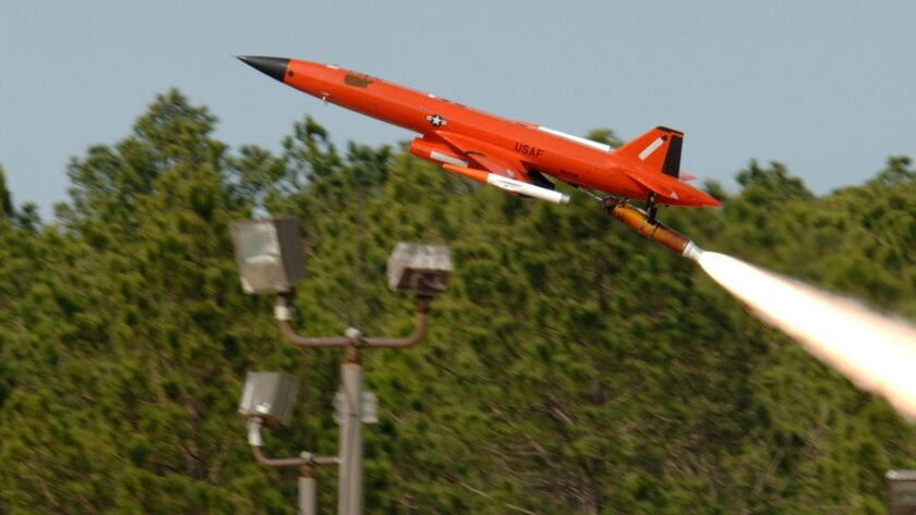 A BQM-167 Air Force Subscale Aerial Target is launched from Tyndall Air Force Base in Florida. Made by a subsidiary of San Diego-based Kratos Defense and Security Solutions, the drone tests military air-to-air missiles.